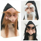 GNOME DWARF GOBLIN MASK WIZARD BEARD & HOOD FANCY DRESS COSTUME