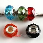 Wholesale Lots Lucid Faceted Crystal Glass European Charms Beads Fit Bracelets
