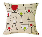 AL208a Wine Martini Glass Lime Cotton Canvas Cushion Cover/Pillow*Custom Size
