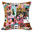 AL228a Colorful Girls Art Print Cotton Canvas Cushion Cover/Case*Custom Size*
