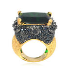 De Buman 14K Gold Plated Green Crystal and Black CZ Ring Size 6/7/8