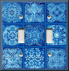 Light Switch Plate Cover - Tuscan Tile Mosaic - Royal Blue - Old World Decor