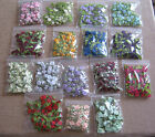 Ribbon Rose & Leaf - 17 colours, 50 per packet. NEW COLOURS & **NEW**