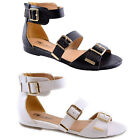 LADIES FLAT SANDALS WOMENS GIRLS FANCY SUMMER PARTY LOW WEDGE HEELS BEACH SHOES