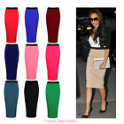 NEW LADIES BODYCON MIDI  STRETCH OFFICE PENCIL TUBE SKIRT SIZE 8-14