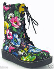 ROCKET DOG BLENDZ FLORAL FLOWER RETRO PUNK PLATFORM WEDGE HEEL BOOTS SIZE 3-8