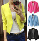 Korea Womens 3/4 Sleeve Pleated Candy Color Solid Slim Suit Blazer Coat Jacket