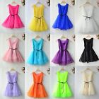 Women Pure Color Lace Organza Princess Style Sleeveless Puff Mini Vest Dress
