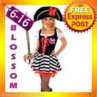 J83 Ladies Caribbean Pirate Wench Outfit Fancy Dress Halloween Party Costume Hat