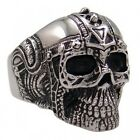 USA Seller Men's Silver Stainless Steel Skull Harley Biker Ring Size 8-14 SR46
