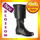S17 NEW Sparrow Pirate Buccaneer Capotain Black Adult Boots Shoes Fancy Dress