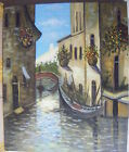 "VENICE CANAL SCENE ART OIL PAINTING 20x24"" STRETCHED"