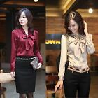 women Long Sleeve bow tie button Blouse office work wear shirt Top
