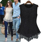 Womens Lace Crochet Peplum Fitted Crew Neck Casual Party Tee Shirt Blouse Tops