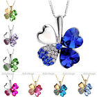 Womens Jewelry Rhinestone Crystal Heart Lucky Four-Leaf Clover Pendant Necklace