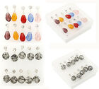 5pairs Chic Jewellery Resin Rhinestone Waterdrop Ball Dangle Ear Studs Earrings