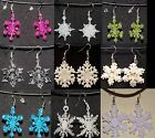 Snowflake Charm Earrings Jewelry Winter Holiday Christmas Festive Snow Ice