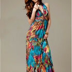 Women Hot Sundress Halter / V-Neck Peacock Lady Maxi Long Beach Dress S M L [HA]