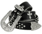 "Western Cowgirl Studded Cross Rhinestone Concho Leather Belt 1-1/2"" Wide, Black"
