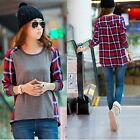Tops Womens Crew Neck Plaid Stitching Loose Casual Long Sleeved T-shirt Blouse