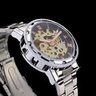 Stainless Steel Band Skeleton Silver Dial Automatic Mechanical Man Wrist Watch