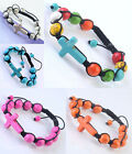 Howlite Turquoise Stone Ball Crosss Beads Macrame Knitted Bracelet Pave Woven