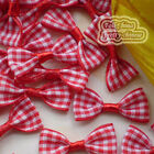 Red Ginghan Bows 35mm Appliques Scrapbooking Cardmaking Trimming Craft BC