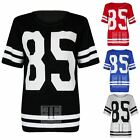 WOMENS NUMBER 85 STRIPED VARSITY PRINT LADIES OVERSIZED LONG BAGGY TSHIRT TOP