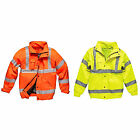 Mens Hi Vis Padded Bomber Jacket Coat In Yellow Or Orange Sizes S to 4XL - EN471