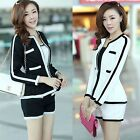 Womens OL Career Slim Suits Set Long Sleeve Short Coat Jacket Tops+pant S/M/L/XL