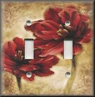 Light Switch Plate Cover - Red Flowers Tan Background - Floral Home Decor