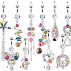 Surgical Steel Multi Paved Colourful CZ Dangle Belly Bar / Navel Ring