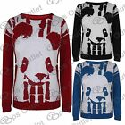 Womens Panda Face Long Sleeves Girls Knitted Pullover Ladies Sweater Jumper Top