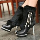 Women Luxury Real Leather Fur Zip Platform Ankle Boots High Heel Shoes Plus Size