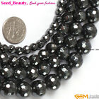 Jewelry Making Fashion round black faceted hematite gemstone beads strand 15""