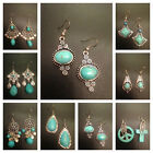 New Vintage Silver Tone Blue Turquoise color Dangle Earrings