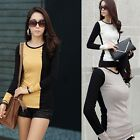 New Korea Womens Career OL Long Sleeve Crew Neck Color Block Casual Blouse  Tops