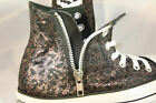 WOMENS Converse Chuck Taylor All Star Black Leopard Side Zip Hi Top w/2 pr laces