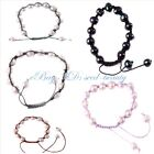 Jewelry 9-10mm white freshwater pearl beads adjustable rope fashion bracelet