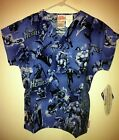 "CHILD Scrub Set Pant  Top ""Marvel Heroes"" Blue BG. Cherokee Tooniforms"