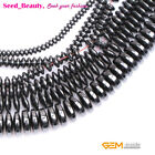 "Natural Black Hematite Rondelle Spacer Beads 15"" No magnetic for Jewelry Making"