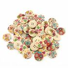 Lots Mix 40-300Pcs Flat Back Sewing Wooden Buttons Scrapbooking DIY Craft Size