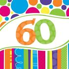 60th Birthday Napkins Balloons Invitations Banner Plates Cupcake Stand Cases etc