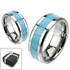 Tungsten Turquoise Inlaid Comfort Fit Wedding Band Ring Size 5-13