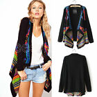 New Women Irregular Hippie Boho Ethnic Knit Cardigan Loose Sweater Coat 10 12 14