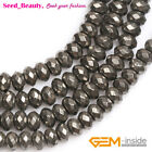 """Natural Gemstone Pyrite Stone Beads For Jewelry Making 15"""" Rondelle Silver Gray"""