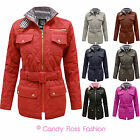 NEW LADIES QUILTED WOMENS  BELTED PADDED GOLD ZIP JACKET COAT TOP SIZES 8-14