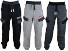 Mens Multi Pockets Jogging Fleece Bottoms Joggers Trousers Cuffed Fleece Pants
