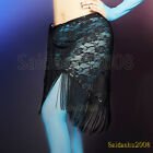 newest belly dance hip scarf egyptian style wrap belt  lace shawl fringes coins