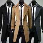 New Sexy Mens Winter Trench Coat Slim Long Jacket Double Breasted Overcoat 35DI